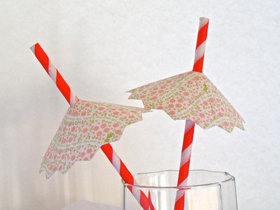 Pink Drink Umbrellas and Mini Flags on Paper Drinking Straws - 12 Total