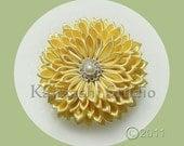 Tsumami Kanzashi - Kiku Kiiro - Yellow chrysanthemum Traditional Japanese Hair Ornament