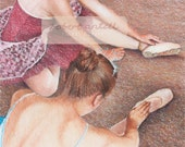 Ballerinas relaxing and stretching signed limited edition giclee print