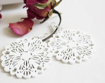 Buy 3 get 1 FREE///White  Mystery Flower  Wood Earring , Naturally Beauty from recycel  Wood