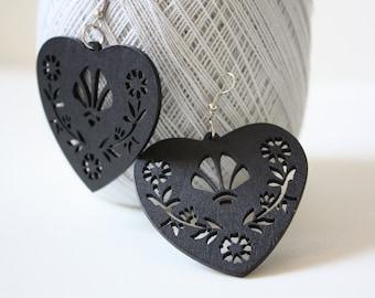 Black Chocolate  BIG Lovely Heart  Wood Earring