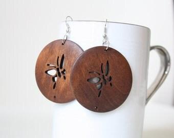 A Browny Butterfly  Laser Cut Wood Earring