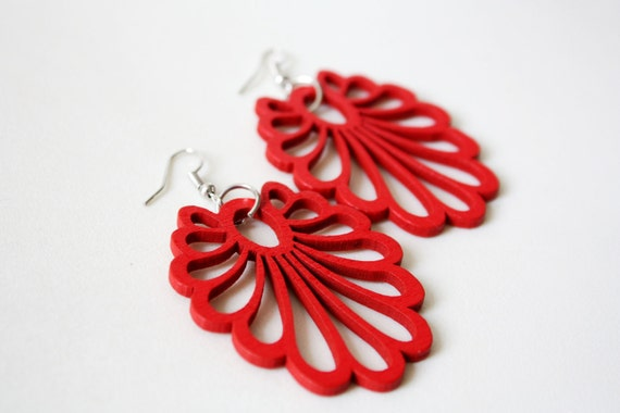Buy 3 get 1 FREE//Red Wish Fairy Tail Wood Earring