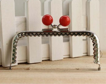 10cm (3.94inch)silver sewing metal purse bag frame C14X-red2