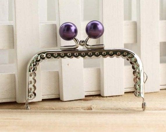 8.5cm (3.35inch)silver sewing metal purse bag frame  C13X-purple
