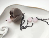 Art Nouveau style leather necklace with Pink quartz faceted beads