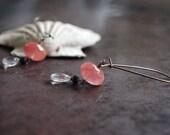 Rose Sunrise earrings with Quartz faceted rondelles