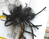 120mm elegant fabric flower corsage brooch with edging black gray