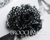 90mm Double layer yarn satin punk cool fabric flower double corsage brooch pins Black White dots
