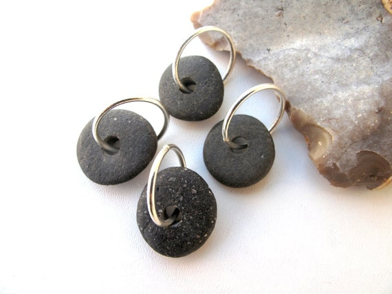Beach Stone Jewelry Supplies - DARK HOOPS by StoneAlone - Beach Rock Pairs, Stone Wheels with Open Jump Rings