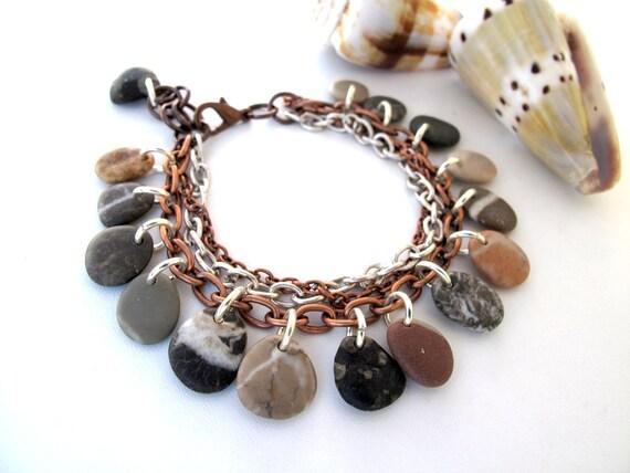 Beach Stone Jewelry - LOL by StoneAlone - Beach Stone Bracelet, Pebble Bracelet, Stone Jewelry