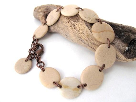 Beach Stone Jewelry Bracelet - XANTOS by StoneAlone - Natural Rock Bracelet, Pebble Stone Jewelry