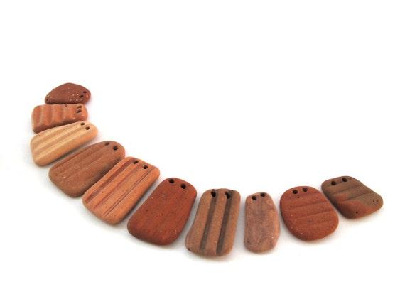 Beach Pottery Jewelry Making Beads - GEO by StoneAlone - Terracotta Jewelry Findings, Sea Pottery Artisan Findings