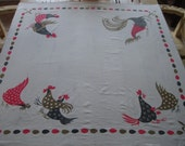Vintage Tablecloth Rooster and Hens with Hearts, Diamonds, Spades and Clubs