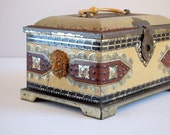 Candy Box & Bank, Metal Tin, Treasure Chest with Lions