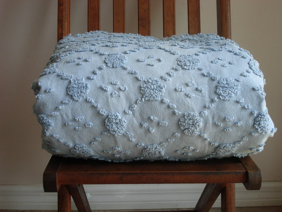 Chambray Blue Vintage Cottage Chenille Duvet Cover Bedspread