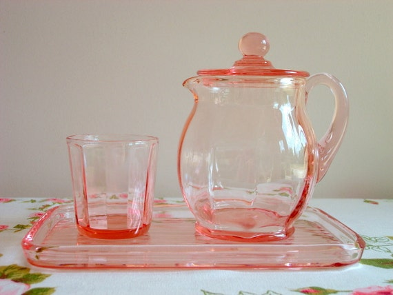 New Martinsville Pink Depression Glass Guest Set