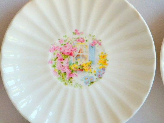 Cottage Windows Saucers, Edwin M. Knowles China, Set of Three (3), 1940's