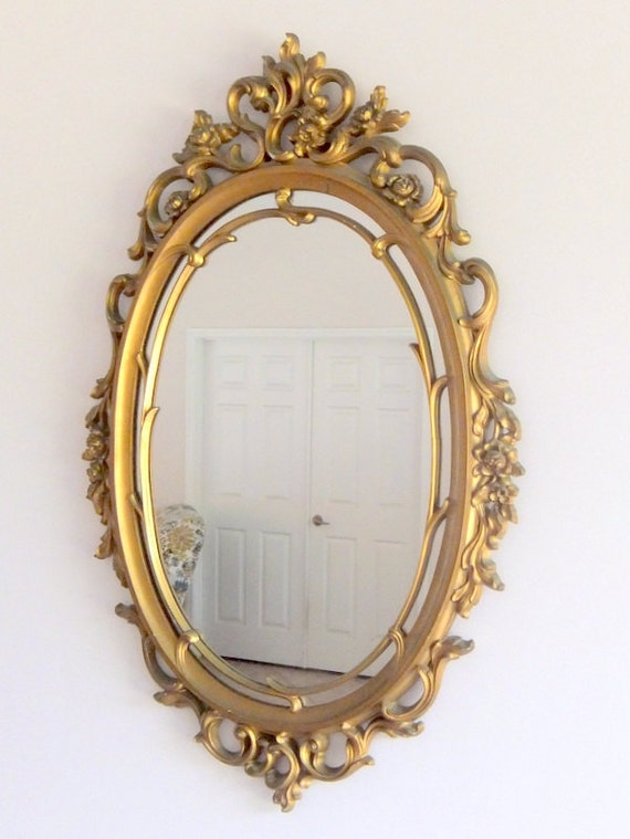 Syroco Mirror, Gold, Flowers and Scrolls, Hollywood Regency