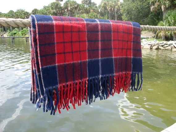 Faribo Wool Plaid Blanket/Throw with Case and Tags, Rustic, Picnic