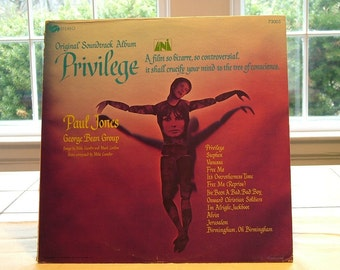 Privilege Soundtrack LP Rock 1967 Uni Paul Jones Jean Shrimpton Vinyl Record Album Hard to Find