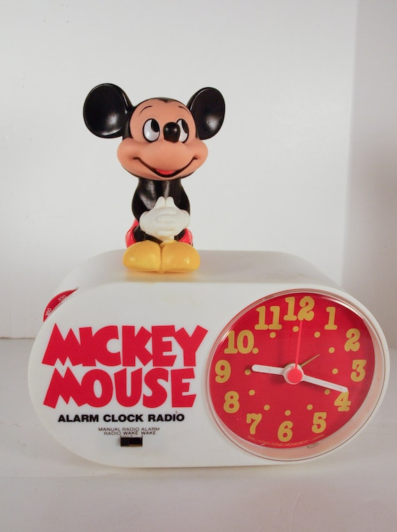 Vintage Mickey Mouse Radio Alarm Clock 1970's In Box with Instruction Model 409 Concept 2000 Pamphlet 1980's, Walt Disney Vintage Radio