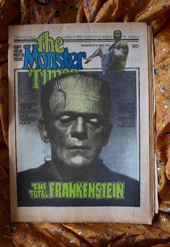 The Monster Times, Frankenstein The Total Frankenstien, 1973 Giant Poster and Magazine, Horror