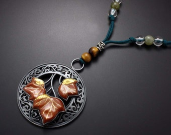 Japanese pendant, arabesque open work pendant, nature inspired pendant necklace of ivy
