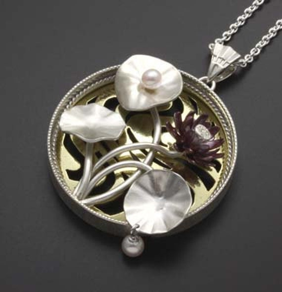 Lotus flower silver pendant with pearls