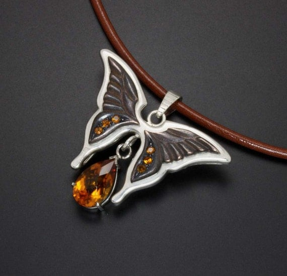 Reserved: Butterfly brooch and pendant with citrine, shakudo, and sterling.