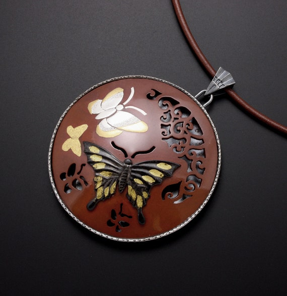 Butterflies pendant with shibuichi(Japanese alloy)