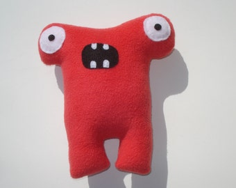 Squeaky Monster Dog Toy - Herman Hammerhead - Pomegranate