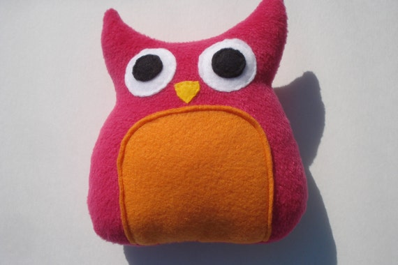 Delilah - Squeaky Owl Dog Toy - Fuschia and Orange