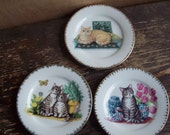 set of 3 vintage cat plates small