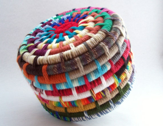 Coil Basket Weaving Patterns : Segmented colorful yarn coiled basket