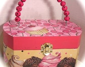 Cupcakes and Cherries wood box purse with custom polka dot handle