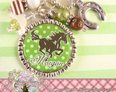 Personalized Horse Cowgirl Bezel Necklace, Horseshoe Charm, Horse Lover, Western, Birthday Gift, Bottle cap, Brown Green Polka Dot