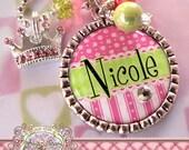 Personalized Girl's PRINCESS Bezel Necklace, Swarovski Crystal Crown Charm, Birthday Gift, Big Sister, New Sister, Flower Girl, Wedding Gift