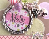 Big SISTER Necklace, Personalized Name Bottle Cap Necklace, Big Sister Charm, Birthday, Gift, New Sister, Heart Charm, Polka Dot
