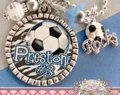 SOCCER NECKLACE, Custom Team Colors Number SOCCER Mom Bezel Necklace Soccer Rocks Charm, Team Spirit Necklace, Team Mom, Sports Mom, Jewelry