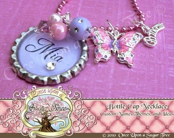 Purple Personalized Name Bottle Cap Bottlecap Necklace with Pink Swarovski Butterfly Charm and Princess Charm Gift by Once Upon a Sugar Tree