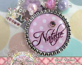 PRINCESS Pink White Polka Dot Personalized Bezel Pendant Necklace, Swarovski Crystal Crown Charm, Birthday Gift, Present