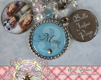 Mom Grandma Nana Triple Pendant NECKLACE (or Key Chain), Photograph, Custom Names Number, Children's Names, Mother, Gift, Mimi, Wedding