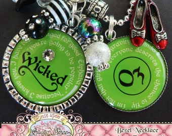 WIZARD of OZ Double Pendant Necklace, Handpainted Ruby Red Slippers Charm, Customizable MESSAGE, Wicked Play, Dorothy, Tin Man, Scarecrow