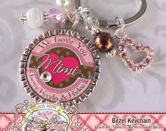 GRANDMA KEYCHAIN, MIMI, Mother, Nana, Mom Personalized Key Chain (or Necklace), We Love You, Heart, Love, Pink Brown