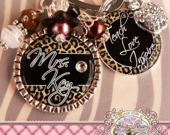 Teacher Gift, Personalized Leopard Key Chain, TEACH LOVE INSPIRE- Keychain, Teacher Appreciation, Rhinestone Apple Charm, Cheetah