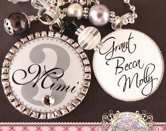 Grandmother's Double Pendant Bezel NECKLACE (or Keychain), Black and White, Children's Names, Grandma, Nana, Mom, Gift Present, Noni, Mimi