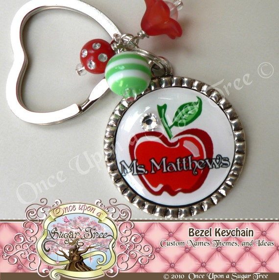 TEACHER GIFT PERSONALIZED Custom Name Bezel Keychain-Teacher Appreciation Gift Present By Once Upon a Sugar Tree No.5