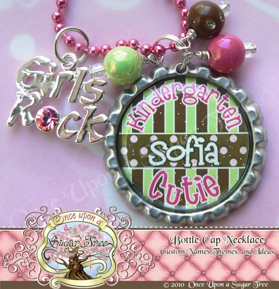 KINDERGARTEN CUTIE (Any GRADE) Bottle Cap Necklace with Girls Rock Charm, Back to School, First Day of School by Once Upon a Sugar Tree