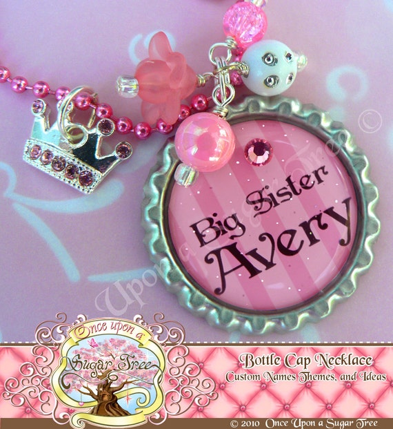 BIG SISTER Gift, Persoanlized Necklace, New Big Sister Bottle Cap Necklace, Crown Charm, Princess Necklace Prenancy Announcement, Christmas